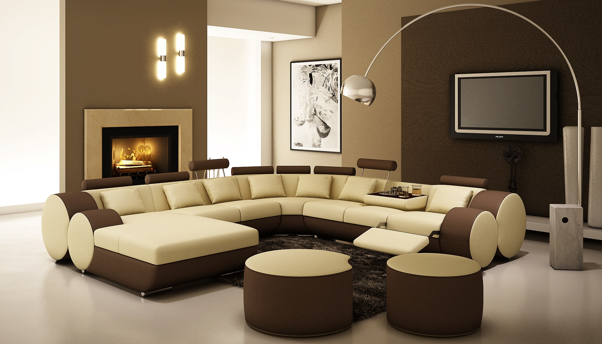 Cream and brown living room designs - Leather Corner Sitting Room The Suitable Home Design