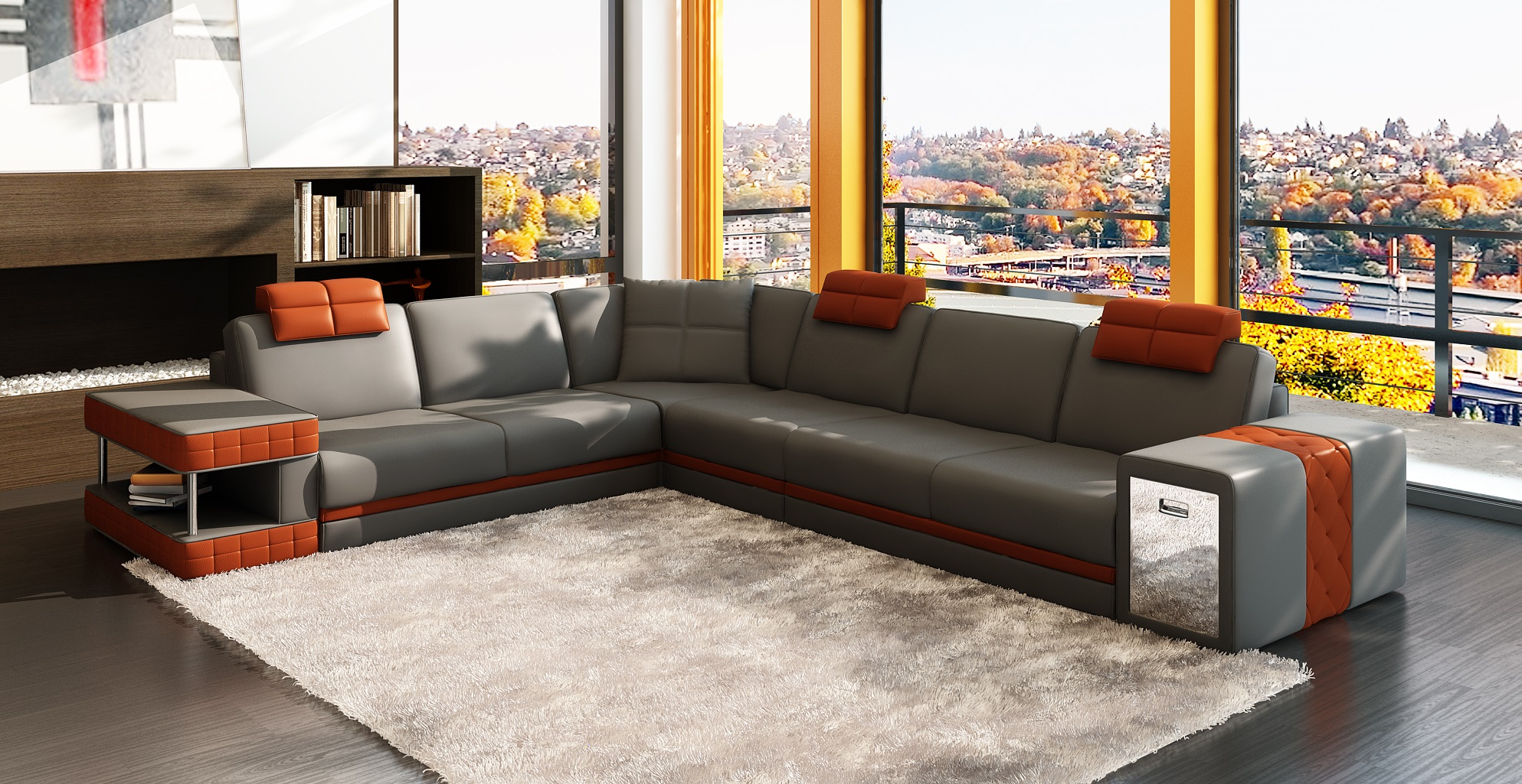 DAWSON LEATHER CORNER SOFA WITH LEFT HAND CHAISE IN BLACK