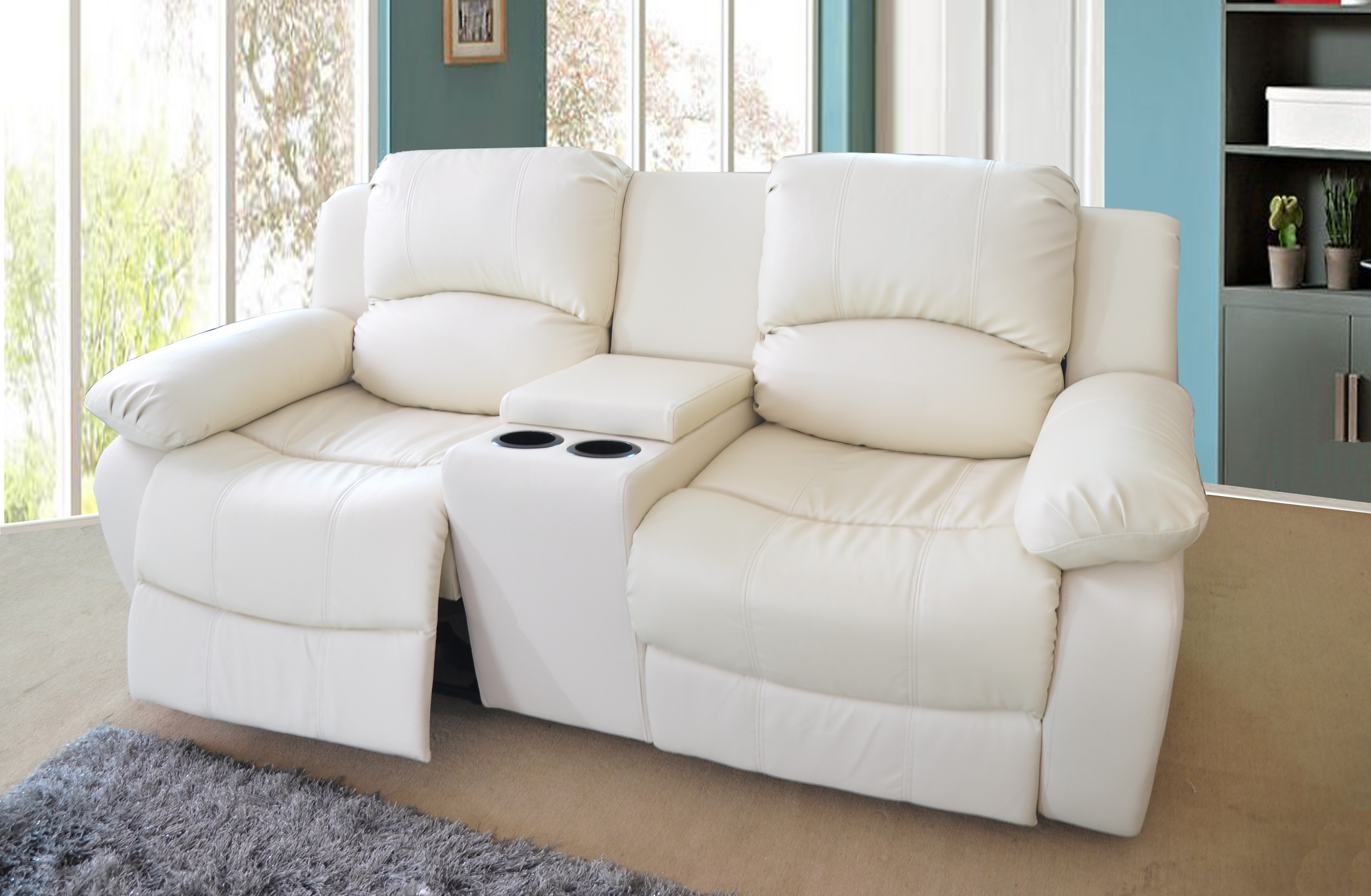 VALENCIA 2 SEATER BONDED LEATHER RECLINER SOFA WITH  : 72222consoleincream from www.lovesofas.co.uk size 3169 x 2070 jpeg 917kB