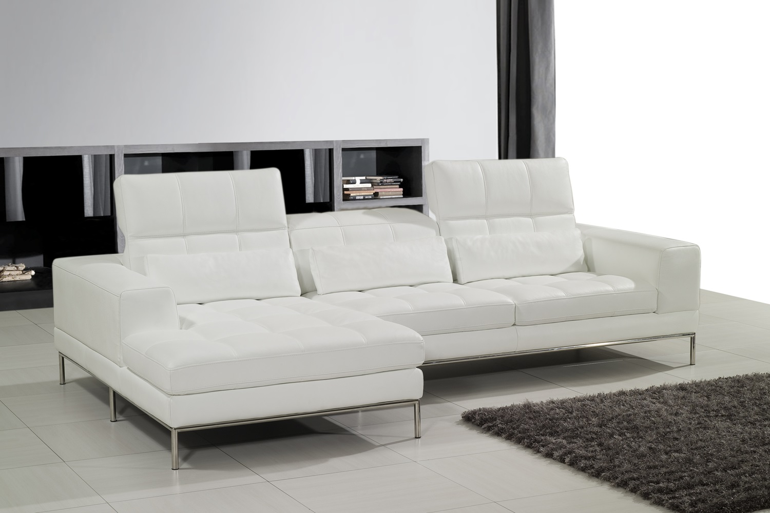 ENSENADA LEATHER SOFA WITH LEFT HAND CHAISE IN WHITE