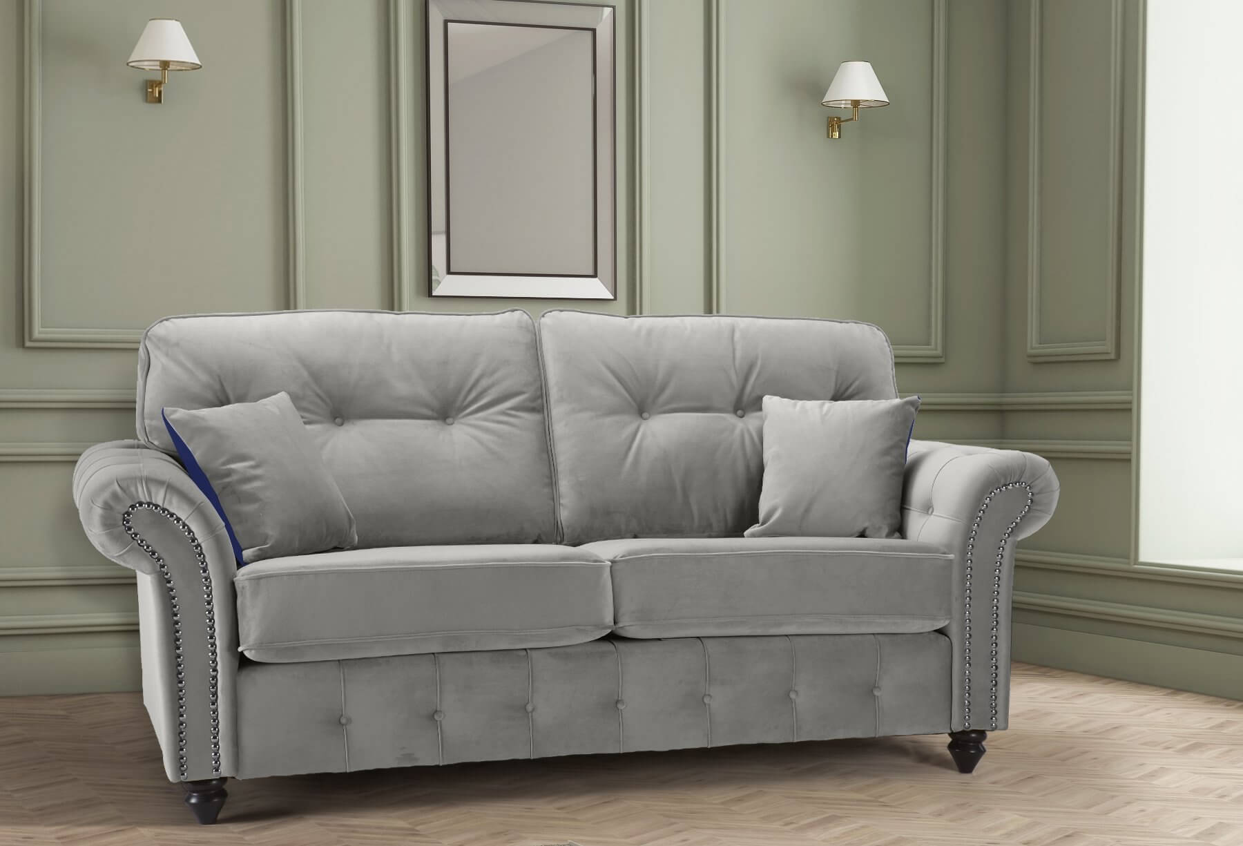 Velvet Light Grey 3 Seater Bella Sofa with High Back and Reversible Pillows