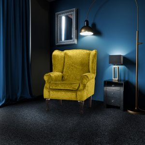 Crushed Velvet Gold Queen Anne Wing Back Fireside Chair / Armchair