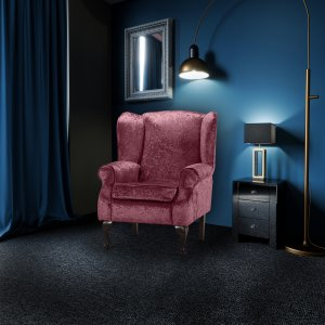 Crushed Velvet Mulberry Queen Anne Wing Back Fireside Chair / Armchair