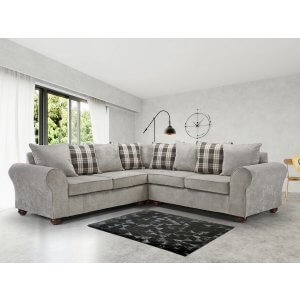 Chenille Fabric Light Grey 2c2 Highgate Kintyre Corner Sofa With Accent Cushions