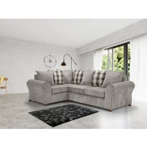 Chenille Fabric Light Grey 1c2 Highgate Kintyre Corner Sofa With Accent Cushions