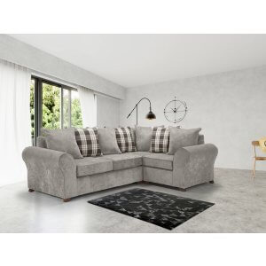 Chenille Fabric Light Grey 2c1 Highgate Kintyre Corner Sofa With Accent Cushions