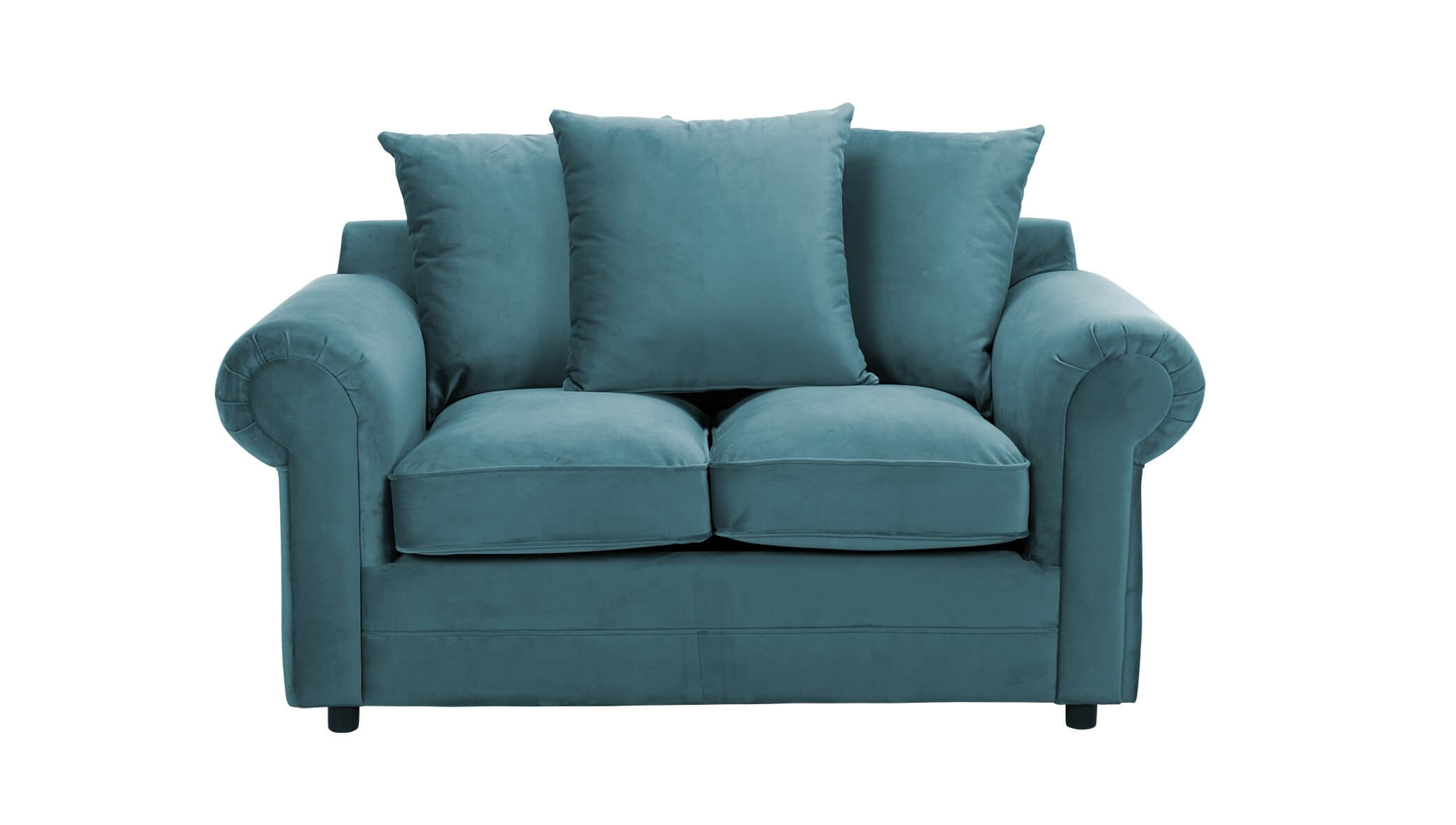 Turquoise Velvet 2 Seater Charlotte Sofa With Scatter Cushions