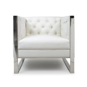 Leather Match Oyster White Empire Armchair