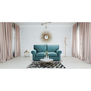 Velvet Turquoise / Teal  3 Seater Charlotte Sofa With High Back
