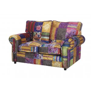 Fabric Patchwork 2 Seater Charlotte Sofa With Fixed Back