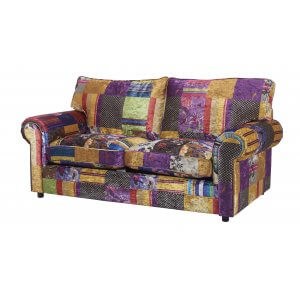 Fabric Patchwork 3 Seater Charlotte Sofa With Fixed Back