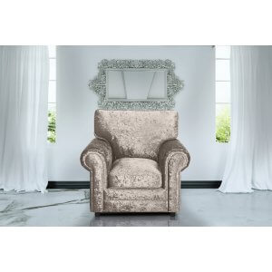 Crushed Velvet Mink Armchair Charlotte With High Back