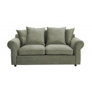 Velvet Light Green 3 Seater Charlotte Sofa With Scatter Cushions