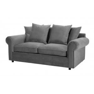 Velvet Grey 3 Seater Charlotte Sofa With Scatter Cushions