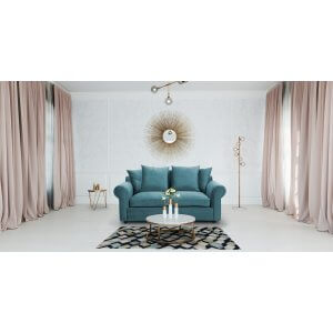 Velvet Turquoise/ Teal  3 Seater Charlotte Sofa With Scatter Cushions