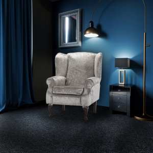 Crushed Velvet Silver Queen Anne Wing Back Fireside Chair / Armchair