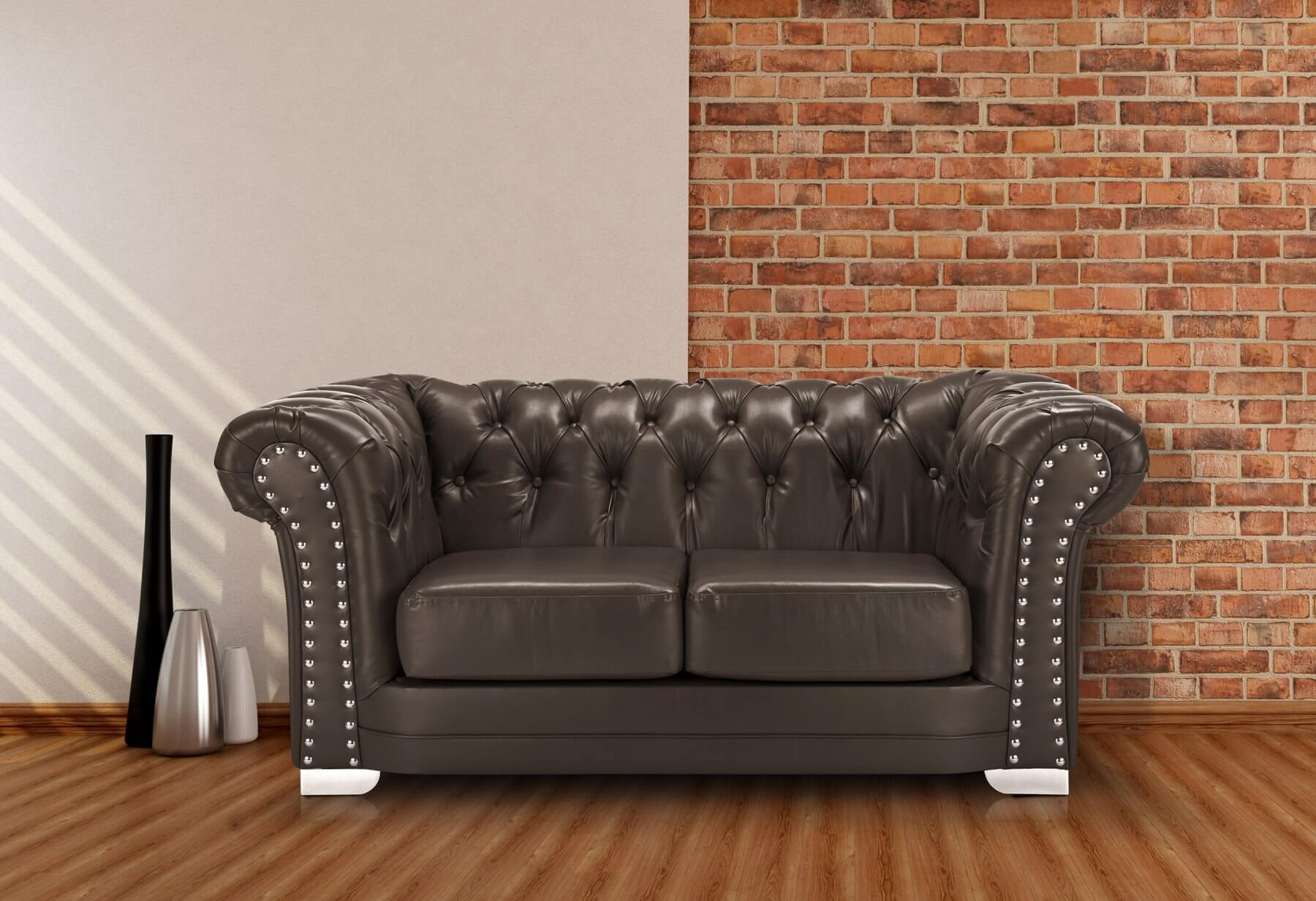Leather 2 Seater Brown Chesterfield Sloane Sofa