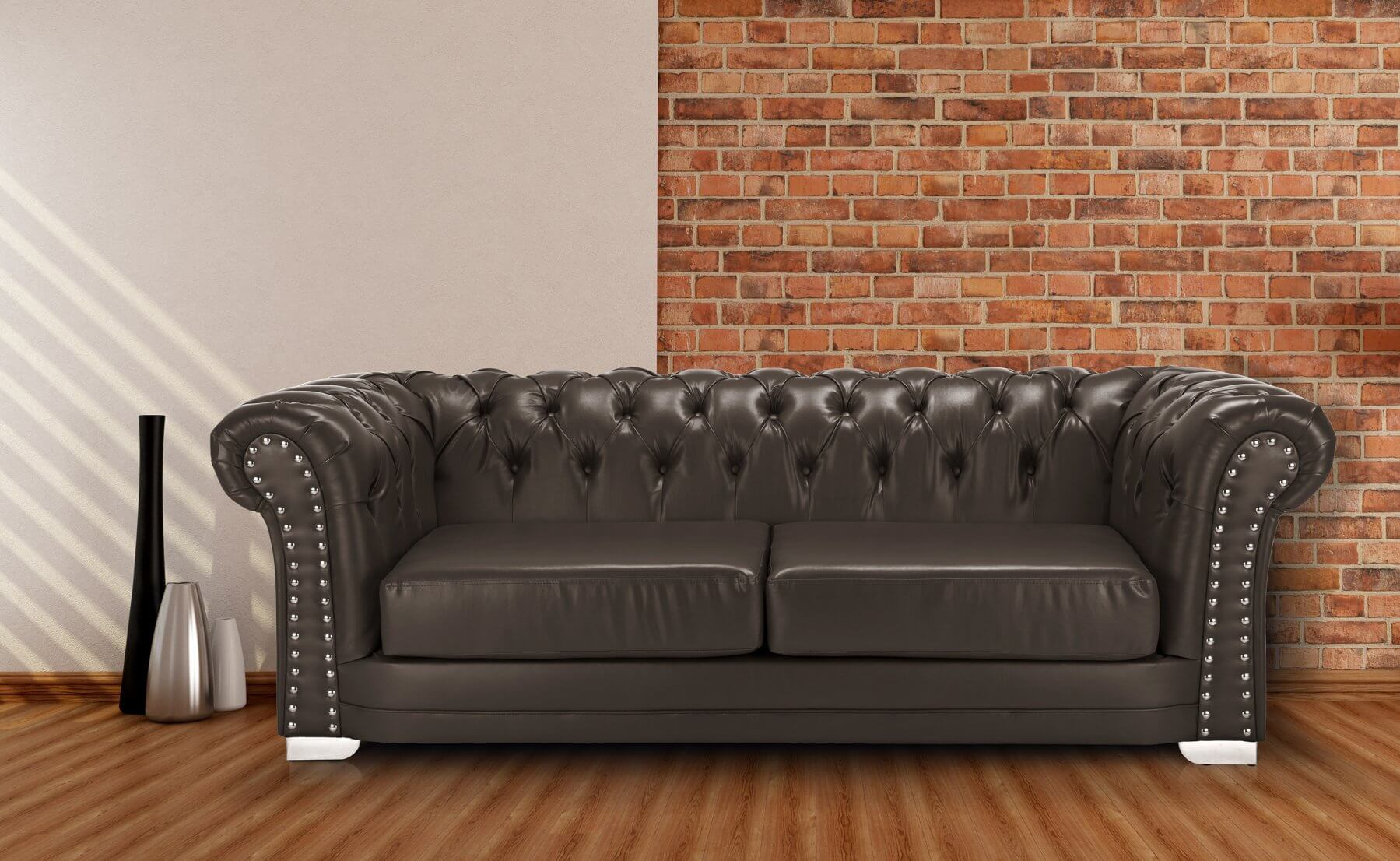 Leather Brown Chesterfield 3 Seater Sloane Sofa With Studs