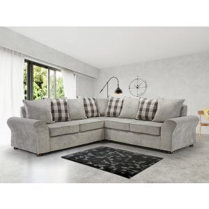 Chenille Fabric Light Grey 2c2 Hampstead Kintyre Corner Sofa With Accent Cushions