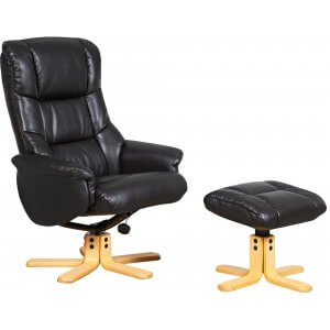 Faux Leather Black Shanghai Swivel Recliner Chair and Footstool