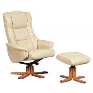 Faux Leather Cream Shanghai Swivel Recliner Chair and Footstool