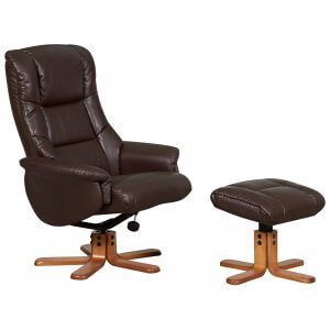 Faux Leather Brown Shanghai Swivel Recliner Chair and Footstool