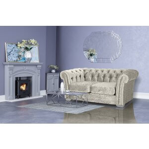 Crushed Velvet Chesterfield Cream 2 Seater Sloane Sofa With Studs
