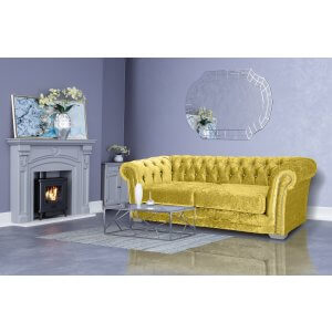 Crushed Velvet Chesterfield Gold 3 Seater Sloane Sofa With Diamante Studs