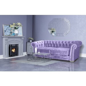 Crushed Velvet Chesterfield Lavender 3 Seater Sloane Sofa With Diamante Studs