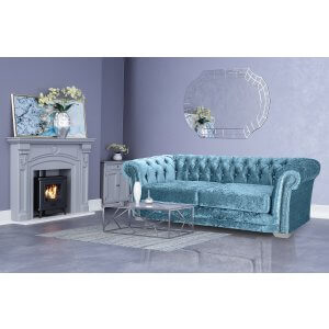 Crushed Velvet Chesterfield Blue 3 Seater Sloane Sofa With Diamante Studs