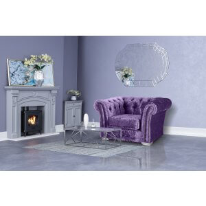 Crushed Velvet Chesterfield Grape Purple 1 Seater Sloane Sofa With Studs