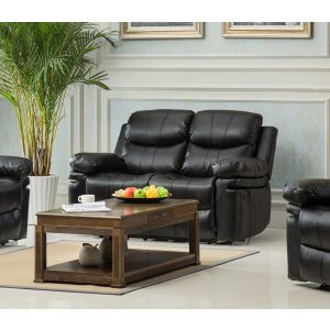 Leather Black 2 Seater Baltimore Recliner Sofa
