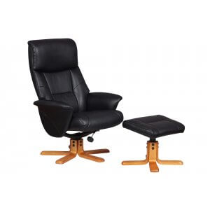 Faux Leather Black Marseille Swivel Recliner Chair and Footstool