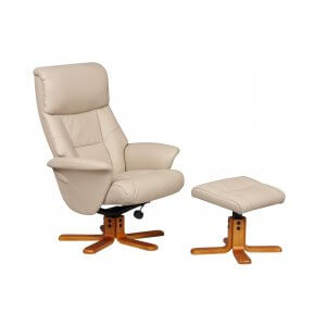 Faux Leather Cream Marseille Swivel Recliner Chair and Footstool