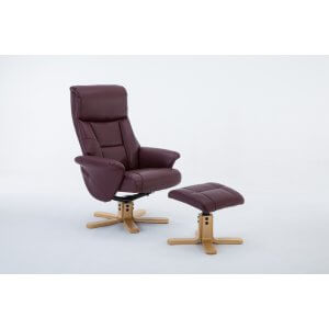 Faux Leather Burgundy Marseille Swivel Recliner Chair and Footstool