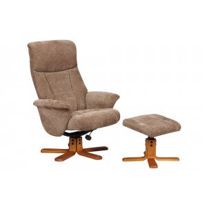 Fabric Mink Marseille Swivel Recliner Chair and Footstool