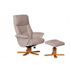 Fabric Beige Marseille Swivel Recliner Chair and Footstool
