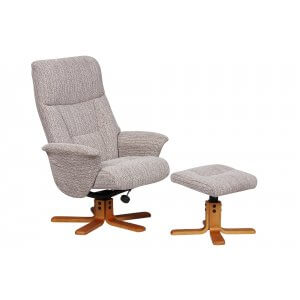 Fabric Cream Marseille Swivel Recliner Chair and Footstool