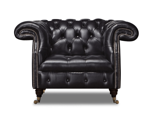 Leather Chesterfield Black 1 Seater Waldorf Sofa