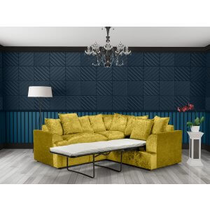 Crushed Velvet Gold 2c2 Fulham Corner Sofa Bed With Scatter Cushions