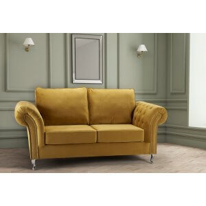 Velvet Gold 3 Seater Wilmslow Sofa with High Back