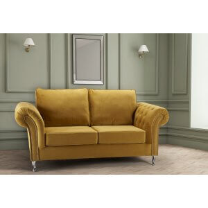 Velvet Gold 3 Seater Wilmslow Diamante Sofa with High Back