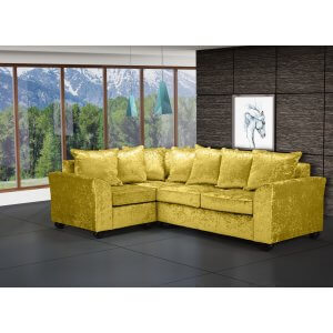 Crushed Velvet Gold 1c2 Corner Wimbledon Sofa With Scatter Cushions