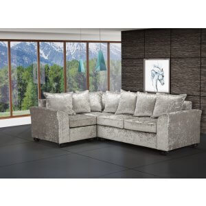 Crushed Velvet Silver 1c2 Corner Wimbledon Sofa With Scatter Cushions