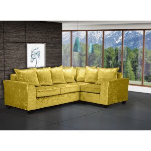 Crushed Velvet Gold 2c1 Corner Wimbledon Sofa With Scatter Cushions