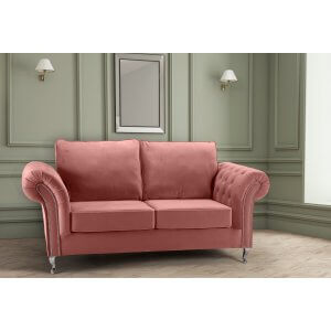 Velvet Dusky Pink 3 Seater Wilmslow Sofa with High Back