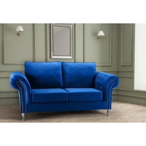 Velvet Blue 3 Seater Wilmslow Diamante Sofa with High Back
