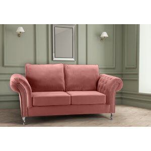 Velvet Dusky Pink 3 Seater Wilmslow Diamante Sofa with High Back