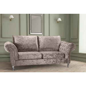 Crushed Velvet Mink 3 Seater Wilmslow Diamante Sofa with High Back