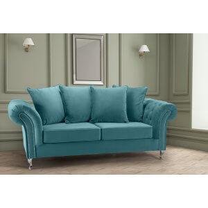 Velvet Teal / Turquoise 3 Seater Wilmslow Sofa